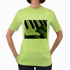 The Piano Player Women s Green T Shirt