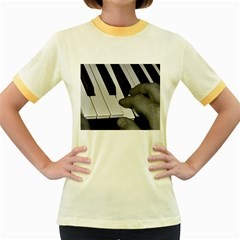 The Piano Player Women s Fitted Ringer T-Shirts
