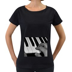 The Piano Player Women s Loose Fit T Shirt (black)