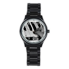 The Piano Player Stainless Steel Round Watches