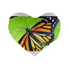 Butterfly 2 Standard 16  Premium Flano Heart Shape Cushions