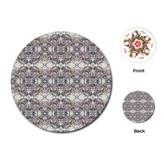 Oriental Geometric Floral Print Playing Cards (Round)
