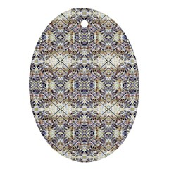 Oriental Geometric Floral Print Oval Ornament (two Sides)