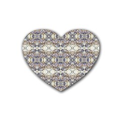 Oriental Geometric Floral Print Rubber Coaster (heart)