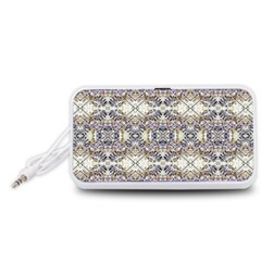 Oriental Geometric Floral Print Portable Speaker (White)