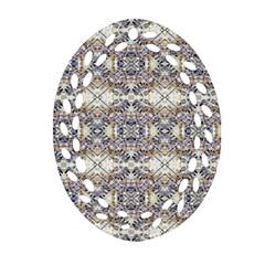 Oriental Geometric Floral Print Oval Filigree Ornament (2-Side)