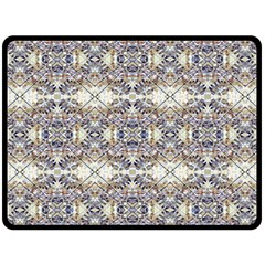 Oriental Geometric Floral Print Double Sided Fleece Blanket (Large)