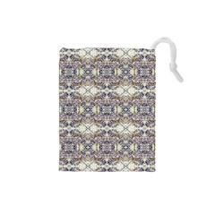 Oriental Geometric Floral Print Drawstring Pouches (small)
