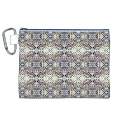Oriental Geometric Floral Print Canvas Cosmetic Bag (XL)