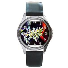 Digitally Enhanced Flower Round Metal Watches
