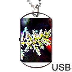 Digitally Enhanced Flower Dog Tag USB Flash (One Side)