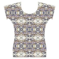 Modern Oriental Geometric Floral Print Women s Cap Sleeve Top