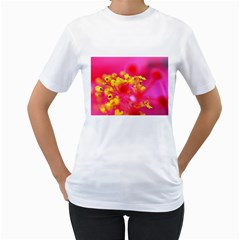 Bright Pink Hibiscus Women s T-Shirt (White) (Two Sided)