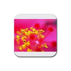 Bright Pink Hibiscus Rubber Coaster (square)