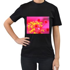 Bright Pink Hibiscus Women s T-Shirt (Black) (Two Sided)