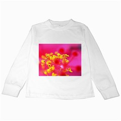 Bright Pink Hibiscus Kids Long Sleeve T-Shirts