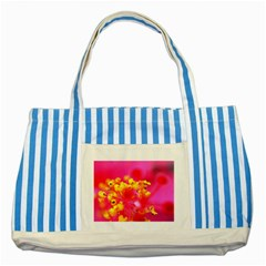 Bright Pink Hibiscus Striped Blue Tote Bag
