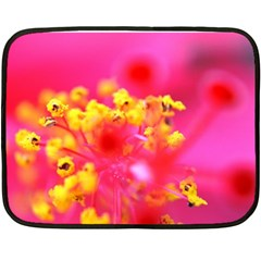 Bright Pink Hibiscus Fleece Blanket (Mini)