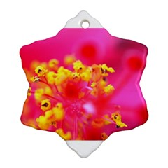Bright Pink Hibiscus Snowflake Ornament (2 Side)