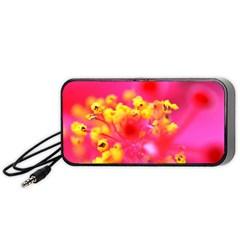 Bright Pink Hibiscus Portable Speaker (black)