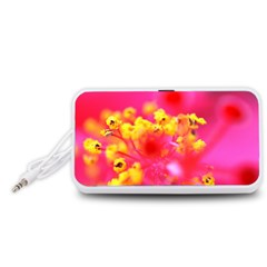 Bright Pink Hibiscus Portable Speaker (White)