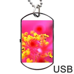 Bright Pink Hibiscus Dog Tag USB Flash (One Side)