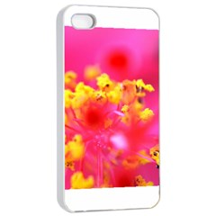 Bright Pink Hibiscus Apple iPhone 4/4s Seamless Case (White)