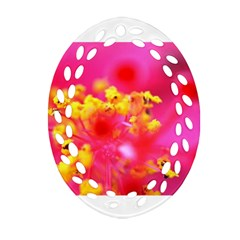 Bright Pink Hibiscus Oval Filigree Ornament (2-Side)