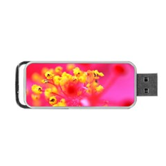Bright Pink Hibiscus Portable USB Flash (One Side)