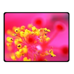 Bright Pink Hibiscus Double Sided Fleece Blanket (Small)