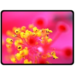 Bright Pink Hibiscus Double Sided Fleece Blanket (large)
