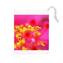 Bright Pink Hibiscus Drawstring Pouches (large)