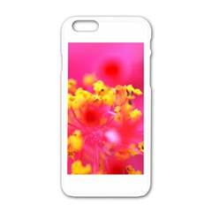 Bright Pink Hibiscus Apple iPhone 6 White Enamel Case