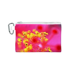 Bright Pink Hibiscus Canvas Cosmetic Bag (S)