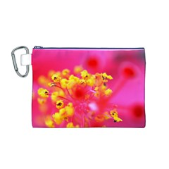 Bright Pink Hibiscus Canvas Cosmetic Bag (M)