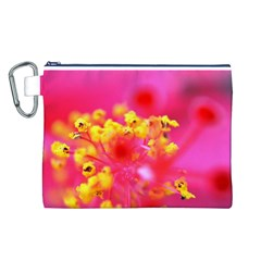 Bright Pink Hibiscus Canvas Cosmetic Bag (L)