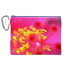 Bright Pink Hibiscus Canvas Cosmetic Bag (XL)