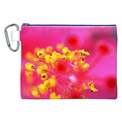 Bright Pink Hibiscus Canvas Cosmetic Bag (XXL)