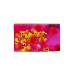 Bright Pink Hibiscus Cosmetic Bag (XS)