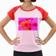 Bright Pink Hibiscus 2 Women s Cap Sleeve T-Shirt