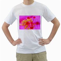 Bright Pink Hibiscus 2 Men s T Shirt (white) (two Sided)