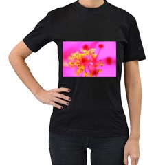 Bright Pink Hibiscus 2 Women s T-Shirt (Black) (Two Sided)