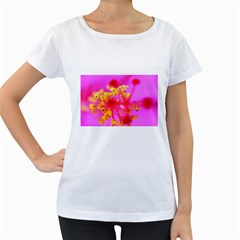 Bright Pink Hibiscus 2 Women s Loose-Fit T-Shirt (White)