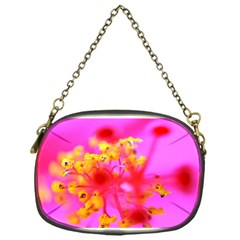 Bright Pink Hibiscus 2 Chain Purses (one Side)