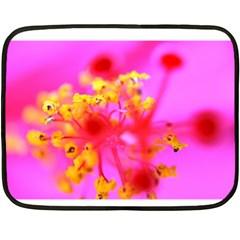 Bright Pink Hibiscus 2 Fleece Blanket (Mini)