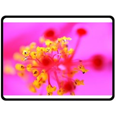 Bright Pink Hibiscus 2 Fleece Blanket (large)