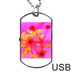 Bright Pink Hibiscus 2 Dog Tag USB Flash (One Side)