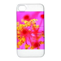 Bright Pink Hibiscus 2 Apple Iphone 4/4s Hardshell Case With Stand