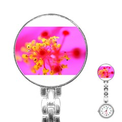 Bright Pink Hibiscus 2 Stainless Steel Nurses Watches