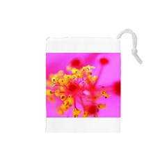 Bright Pink Hibiscus 2 Drawstring Pouches (small)